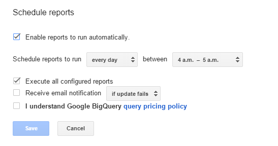 С помощью пункта меню Schedule reports описанного дополнения можно задать настройки автоматического обновления результатов запроса через определенный интервал времени