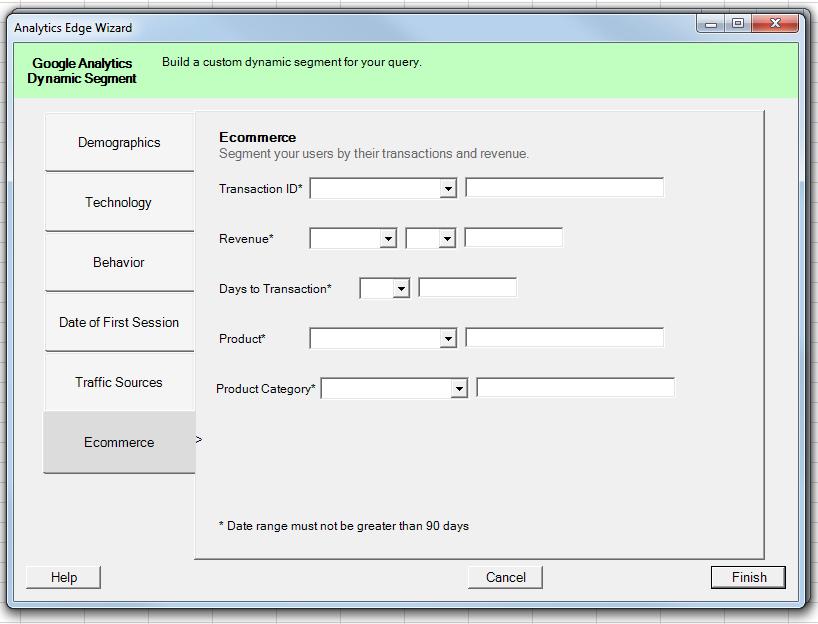 Ecommerce — предназначена для фильтрации трафика по посетителям, совершившим транзакции