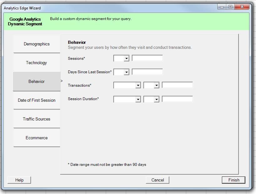 Behavior сортирует пользователей, совершивших определенное количество сеансов (sessions) или транзакций (transactions) на сайте