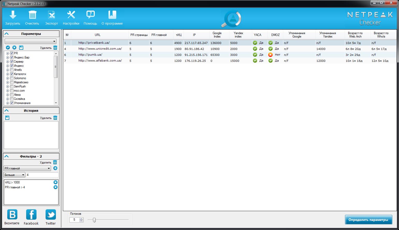 Netpeak Checker: результаты применения фильтров